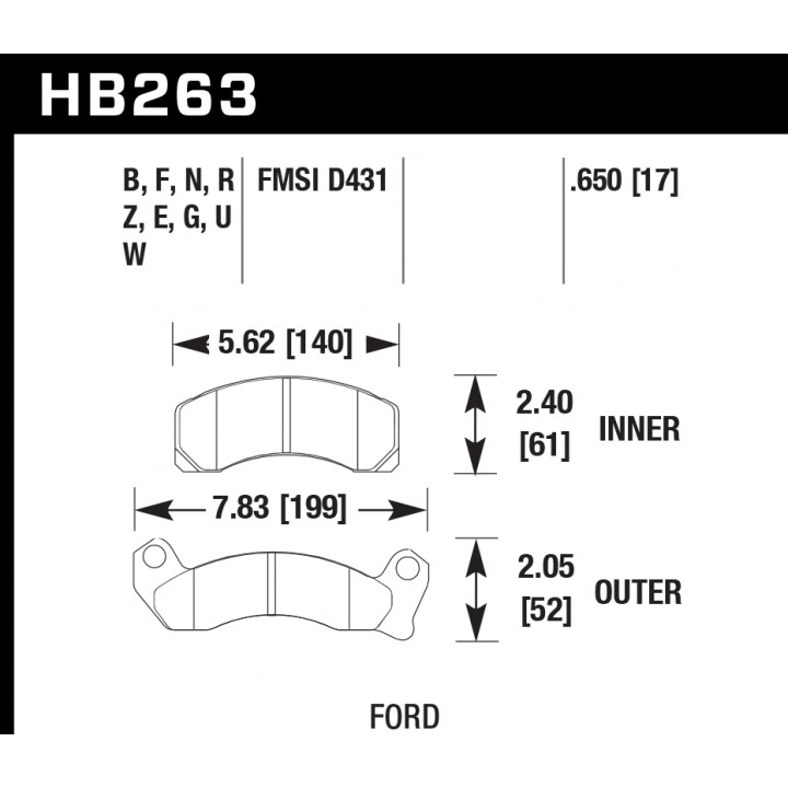 Hawk Performance HB263E.650 Disc Brake Pad Blue 9012 w/0.650 Thickness Front