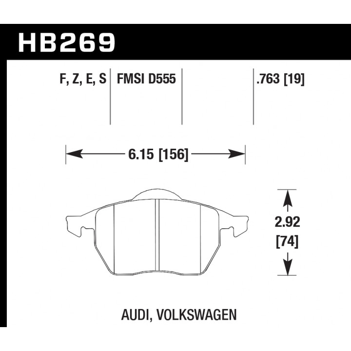 Hawk Performance HB269E.763 Disc Brake Pad Blue 9012 w/0.763 Thickness Front