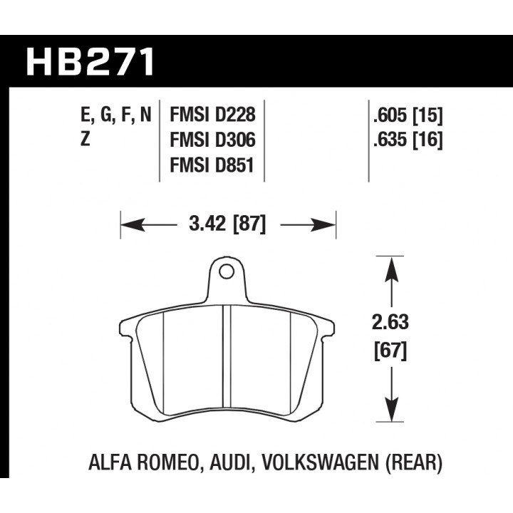 Hawk Performance HB271E.605 Racing Brake Pads