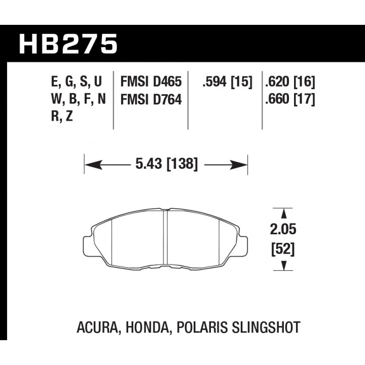 Hawk Performance HB275N.620 Disc Brake Pad HP Plus w/0.620 Thickness Front
