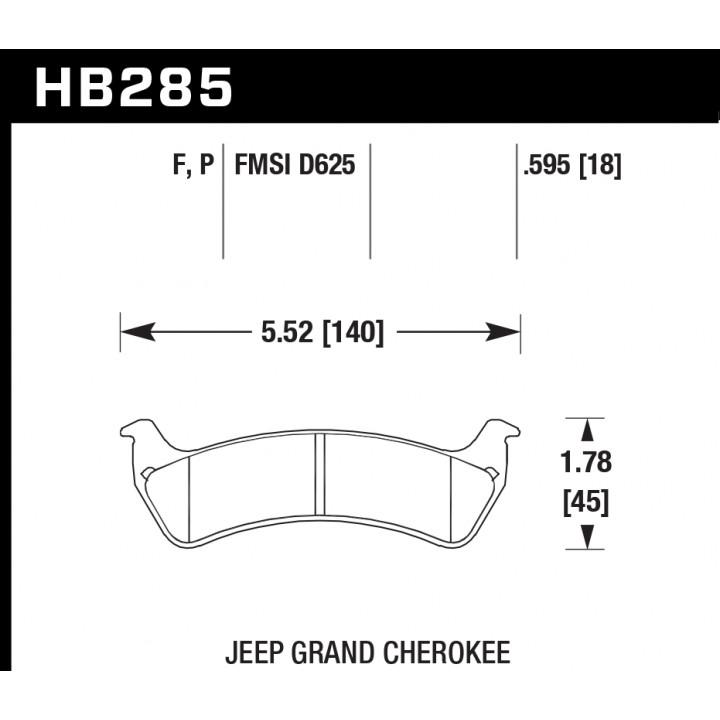 Hawk Performance HB285F.595 Disc Brake Pad HPS Performance Street w/0.595 Thickness Rear