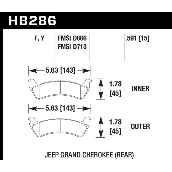 Hawk Performance HB286Y.591 Disc Brake Pad LTS w/0.591 Thickness Rear