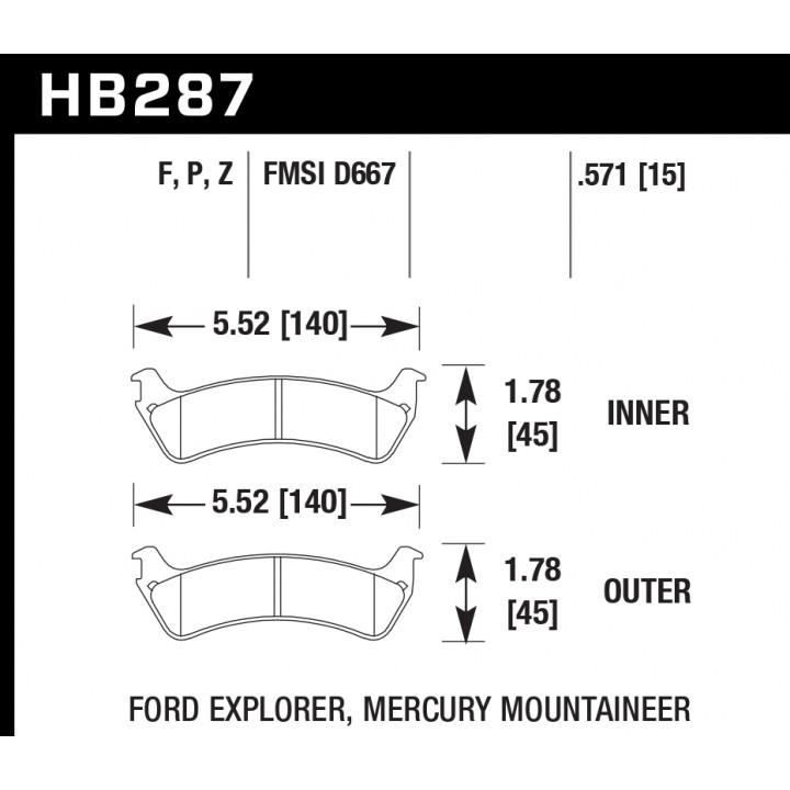 Hawk Performance HB287Z.571 Disc Brake Pad Performance Ceramic w/0.571 Thickness Rear