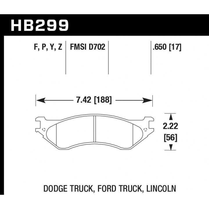 Hawk Performance HB299F.650 Disc Brake Pad HPS Performance Street w/0.650 Thickness Front