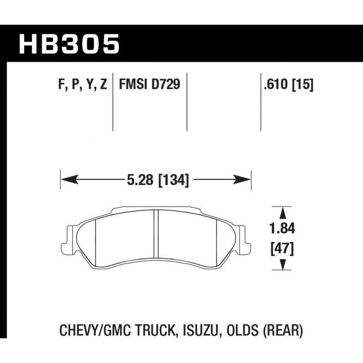 Hawk Performance HB305F.610 Disc Brake Pad HPS Performance Street w/0.610 Thickness Rear