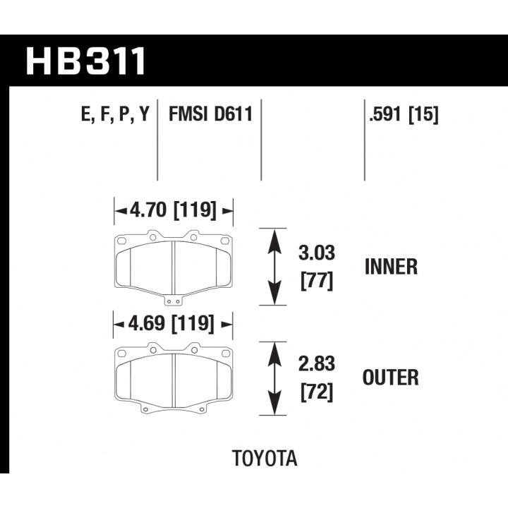 Hawk Performance HB311F.591 Disc Brake Pad HPS Performance Street w/0.591 Thickness Front