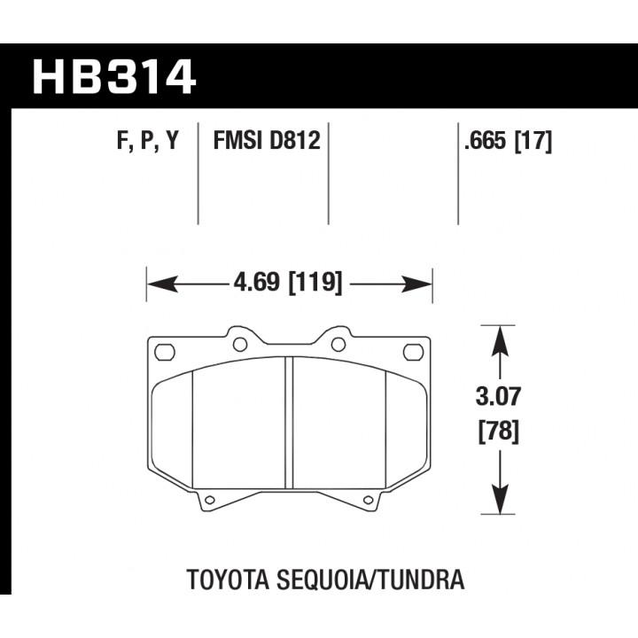 Hawk Performance HB314F.665 Disc Brake Pad HPS Performance Street w/0.665 Thickness w/4.7 in. Brake Pad Front