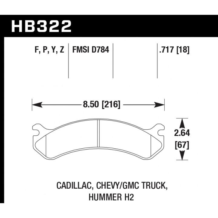 Hawk Performance HB322F.717 Disc Brake Pad HPS Performance Street w/0.717 Thickness Front