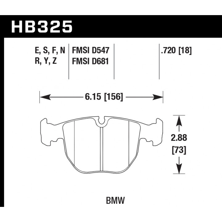 Hawk Performance HB325Y.720 Disc Brake Pad LTS w/0.720 Thickness Front
