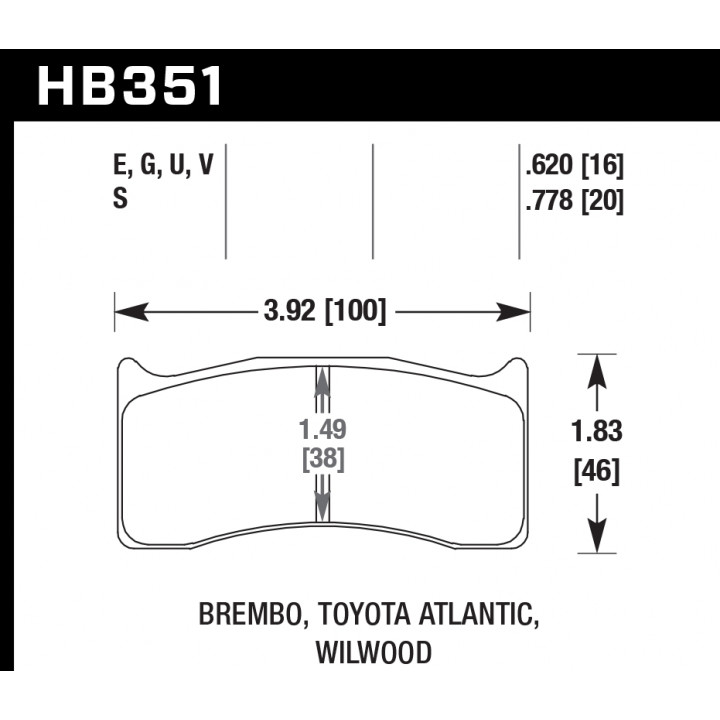 Hawk Performance HB351G.620 Disc Brake Pad DTC-60 w/0.620 Thickness Front or Rear
