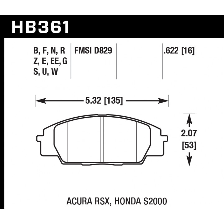 Hawk Performance HB361S.622 Disc Brake Pad HT-10 w/0.622 Thickness Front