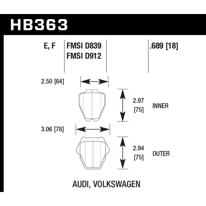 Hawk Performance HB363E.689 Disc Brake Pad Blue 9012 w/0.689 Thickness Front