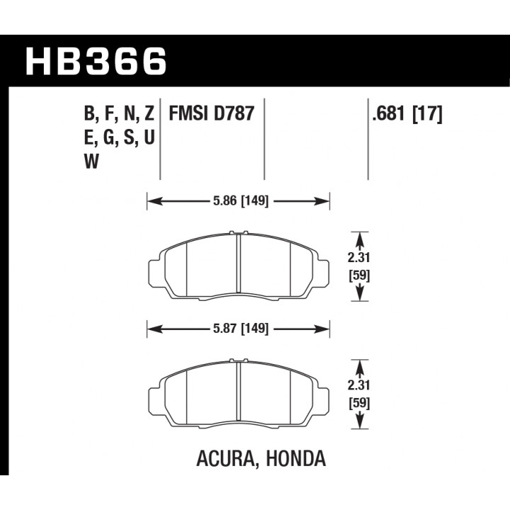 Hawk Performance HB366E.681 Disc Brake Pad Blue 9012 w/0.681 Thickness Front