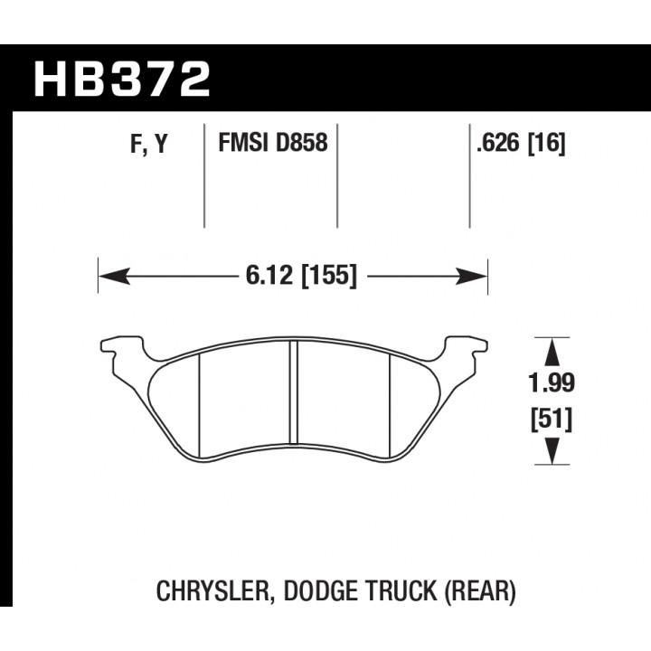 Hawk Performance HB372F.626 Disc Brake Pad HPS Performance Street w/0.626 Thickness Rear