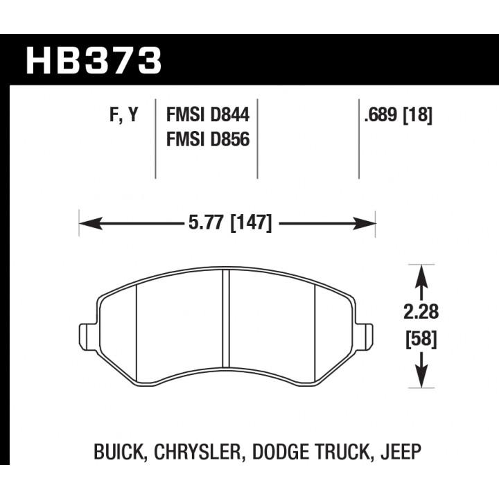 Hawk Performance HB373F.689 Disc Brake Pad HPS Performance Street w/0.689 Thickness Front