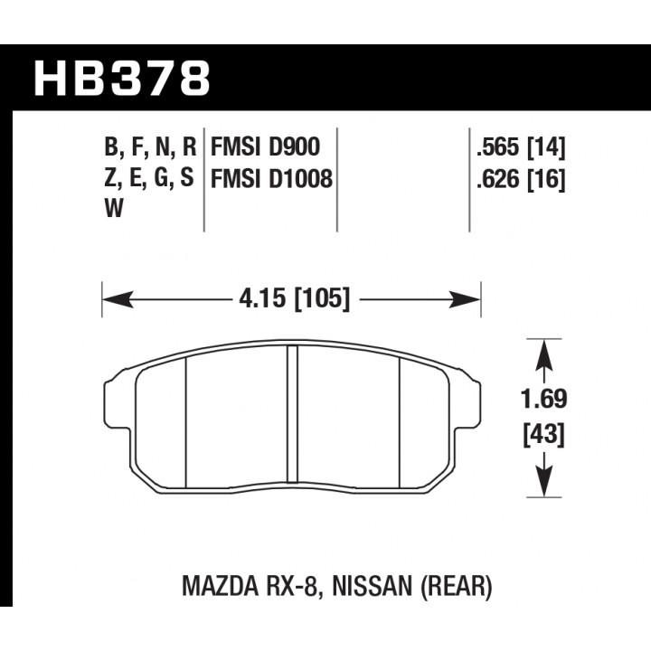 Hawk Performance HB378F.626 Disc Brake Pad HPS Performance Street w/0.626 Thickness Rear
