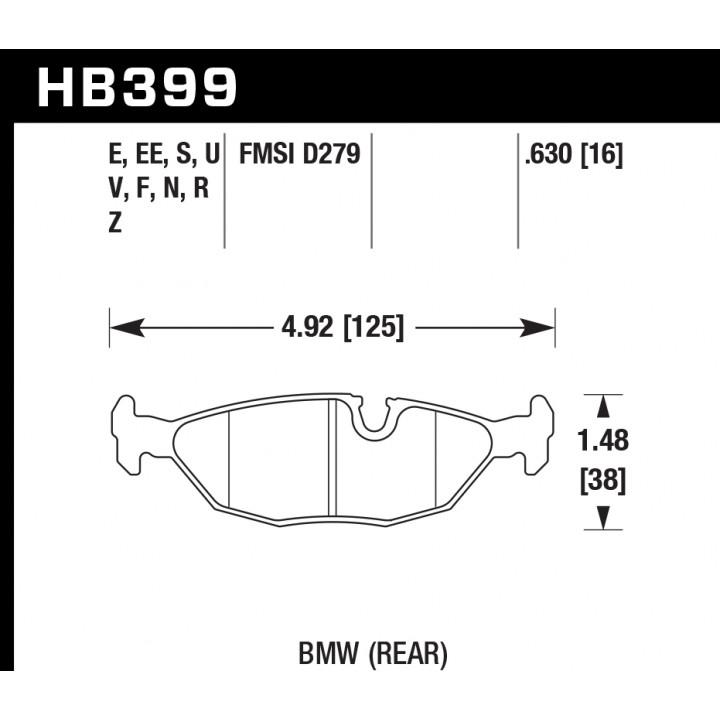 Hawk Performance HB399S.630 Disc Brake Pad HT-10 w/0.630 Thickness Rear