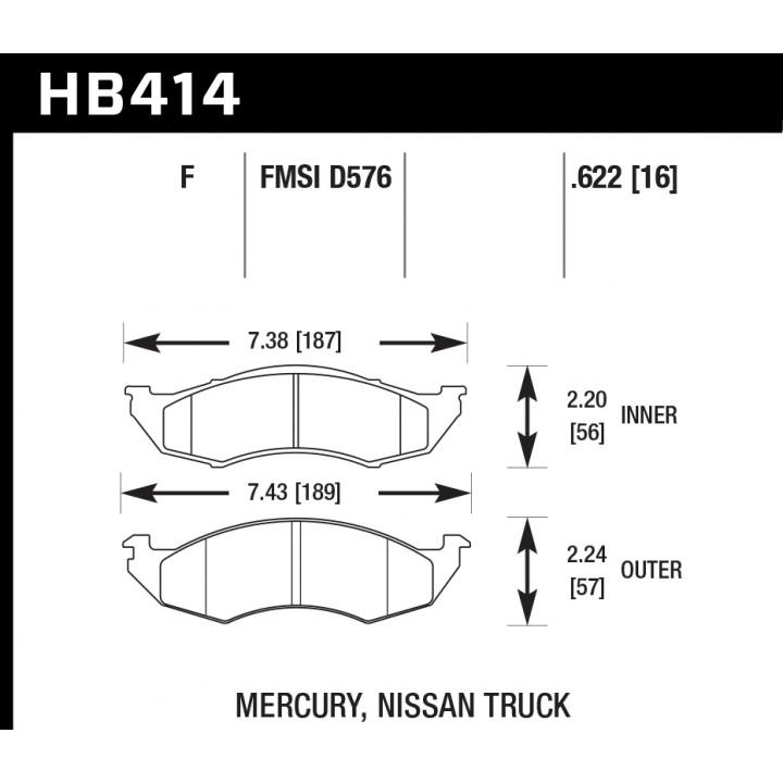 Hawk Performance HB414F.622 Disc Brake Pad HPS Performance Street w/0.622 Thickness Front