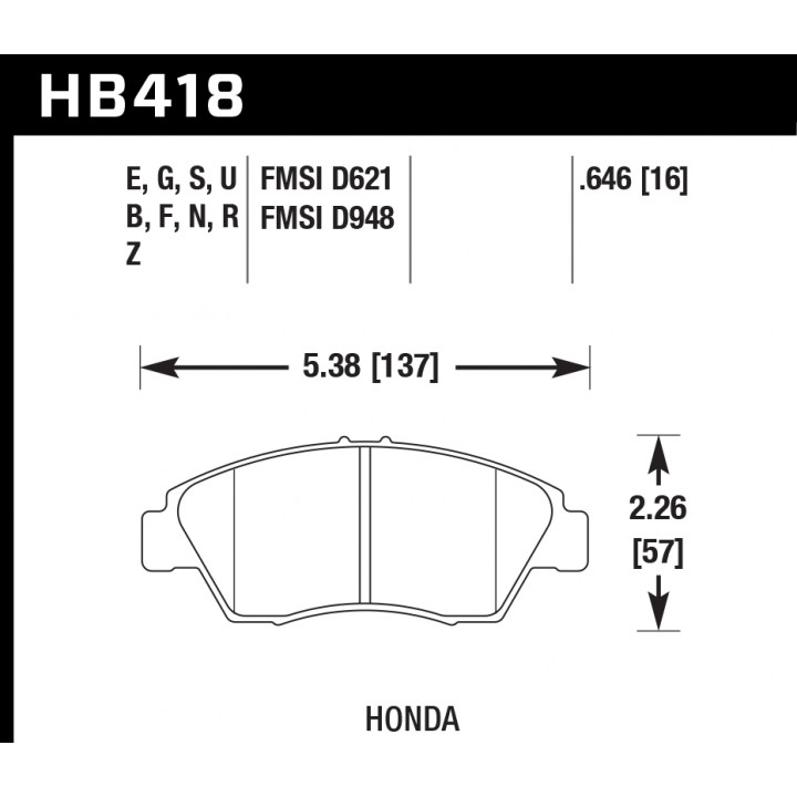 Hawk Performance HB418S.646 Disc Brake Pad HT-10 w/0.646 Thickness Front