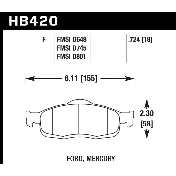 Hawk Performance HB420F.724 Disc Brake Pad HPS Performance Street w/0.724 Thickness Front