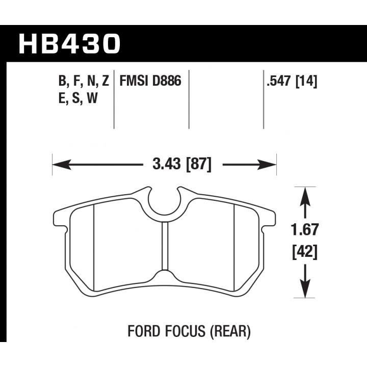 Hawk Performance HB430F.547 Disc Brake Pad HPS Performance Street w/0.547 Thickness Rear