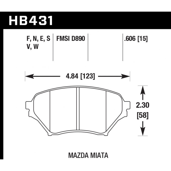 Hawk Performance HB431S.606 Disc Brake Pad HT-10 w/0.606 Thickness Front