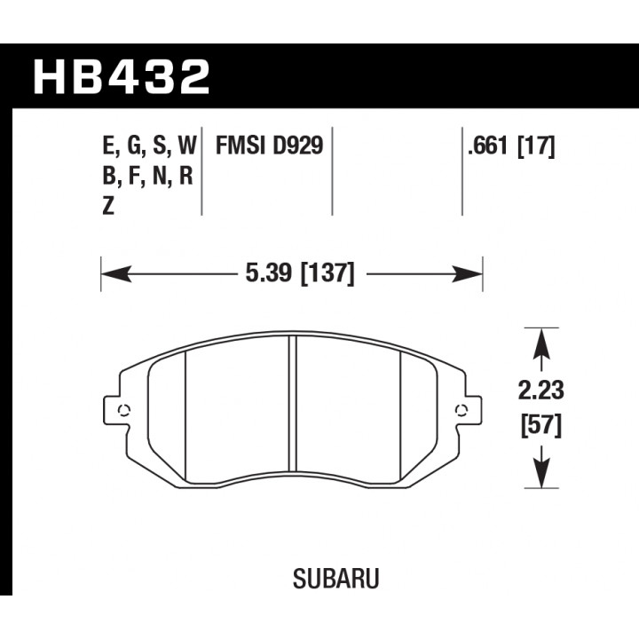 Hawk Performance HB432E.661 Disc Brake Pad Blue 9012 w/0.661 Thickness Front