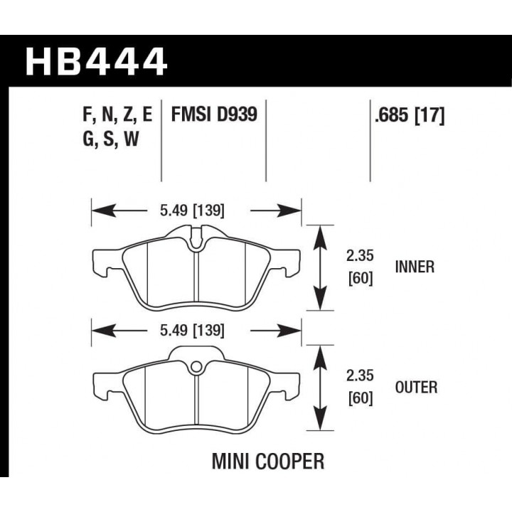 Hawk Performance HB444Z.685 Disc Brake Pad Performance Ceramic w/0.685 Thickness Front