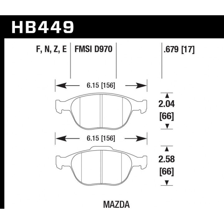 Hawk Performance HB449F.679 Disc Brake Pad HPS Performance Street w/0.679 Thickness Front