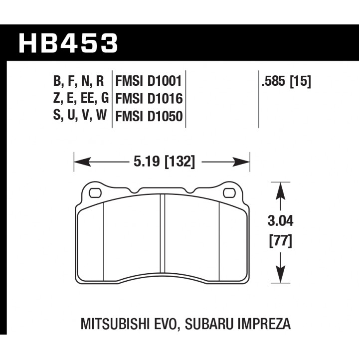 Hawk Performance HB453E.585 Disc Brake Pad Blue 9012 w/0.585 Thickness Front