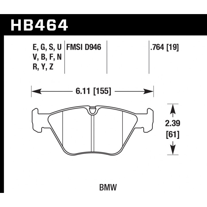 Hawk Performance HB464E.764 Disc Brake Pad Blue 9012 w/0.764 Thickness Front