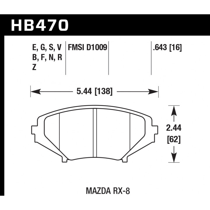 Hawk Performance HB470Z.643 Disc Brake Pad Performance Ceramic w/0.643 Thickness Front