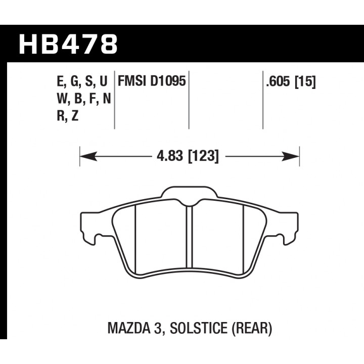 Hawk Performance HB478N.605 Disc Brake Pad HP Plus w/0.605 Thicknessw/Upper Notch And Spring Rear
