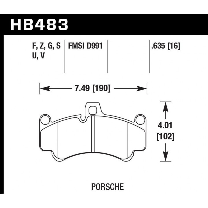 Hawk Performance HB483G.635 Disc Brake Pad DTC-60 w/0.635 Thickness Front
