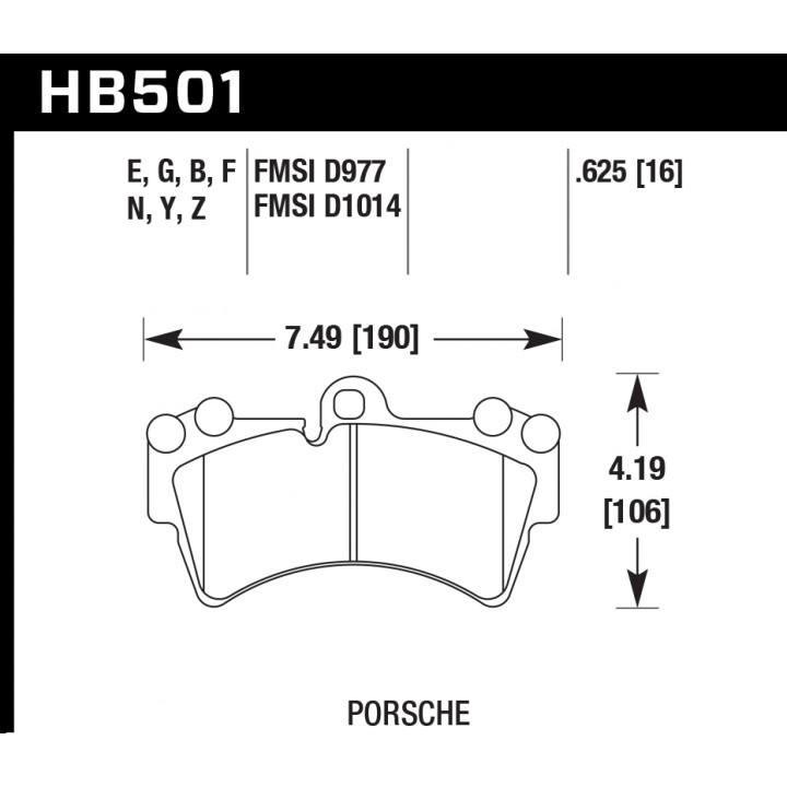 Hawk Performance HB501Z.625 Disc Brake Pad Performance Ceramic w/0.625 Thickness Front