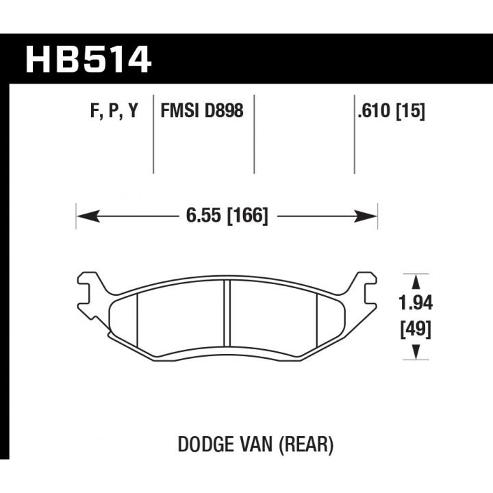 Hawk Performance HB514F.610 Disc Brake Pad HPS Performance Street w/0.610 Thickness Rear