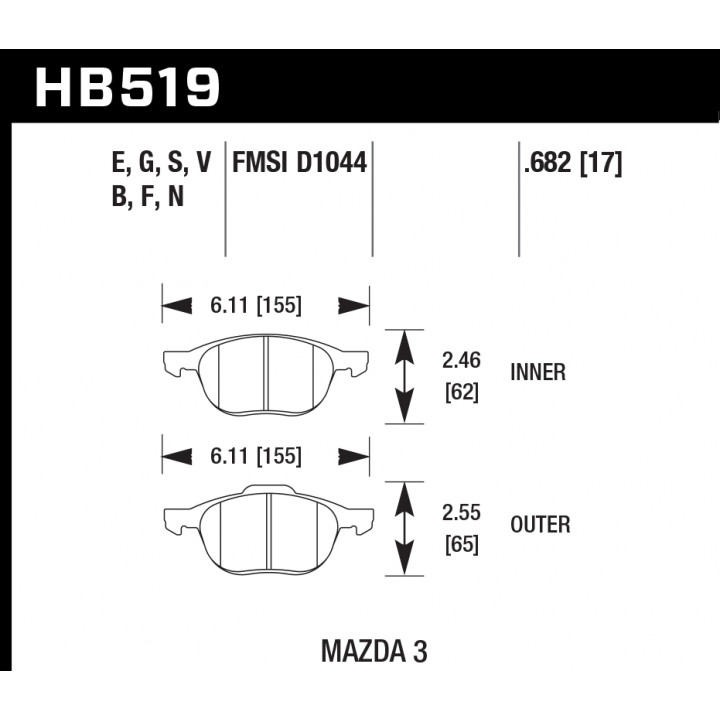 Hawk Performance HB519E.682 Disc Brake Pad Blue 9012 w/0.682 Thickness Front