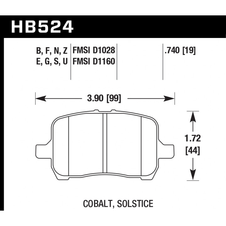 Hawk Performance HB524E.740 Disc Brake Pad Blue 9012 w/0740 Thickness Front