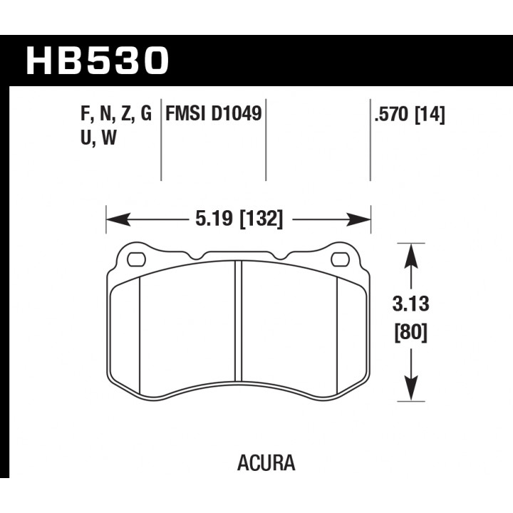 Hawk Performance HB530W.570 Disc Brake Pad DTC-30 w/0.570 Thickness Front