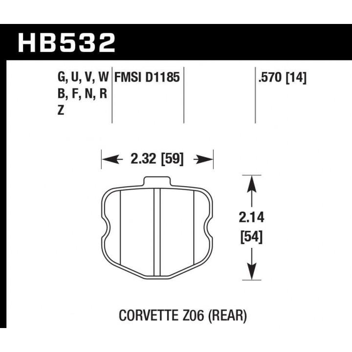 Hawk Performance HB532U.570 Disc Brake Pad DTC-70 w/0.570 Thickness Rear