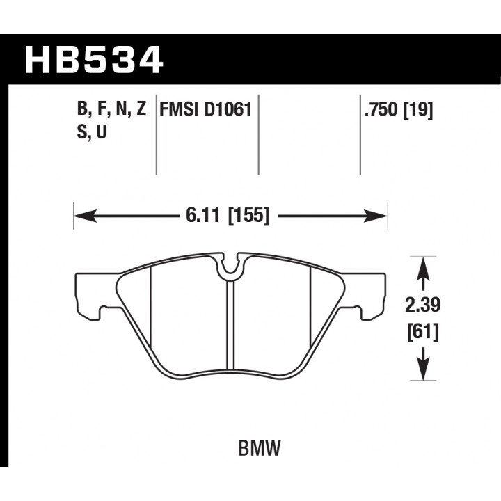 Hawk Performance HB534S.750 Disc Brake Pad HT-10 w/0.750 Thickness Front
