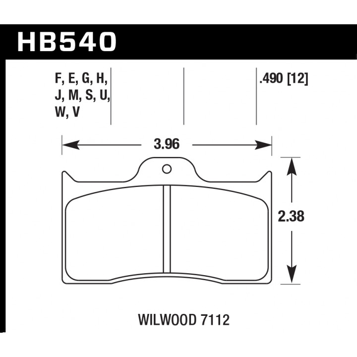 Hawk Performance HB540H.490 Disc Brake Pad DTC-05 w/0.490 Thickness Front or Rear
