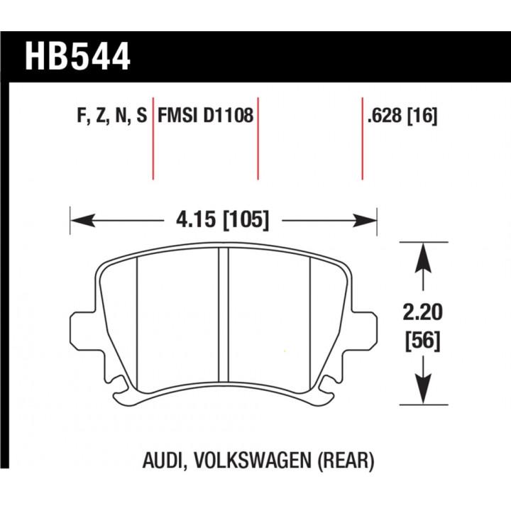 Hawk Performance HB544S.628 Disc Brake Pad HT-10 w/0.628 Thickness Rear