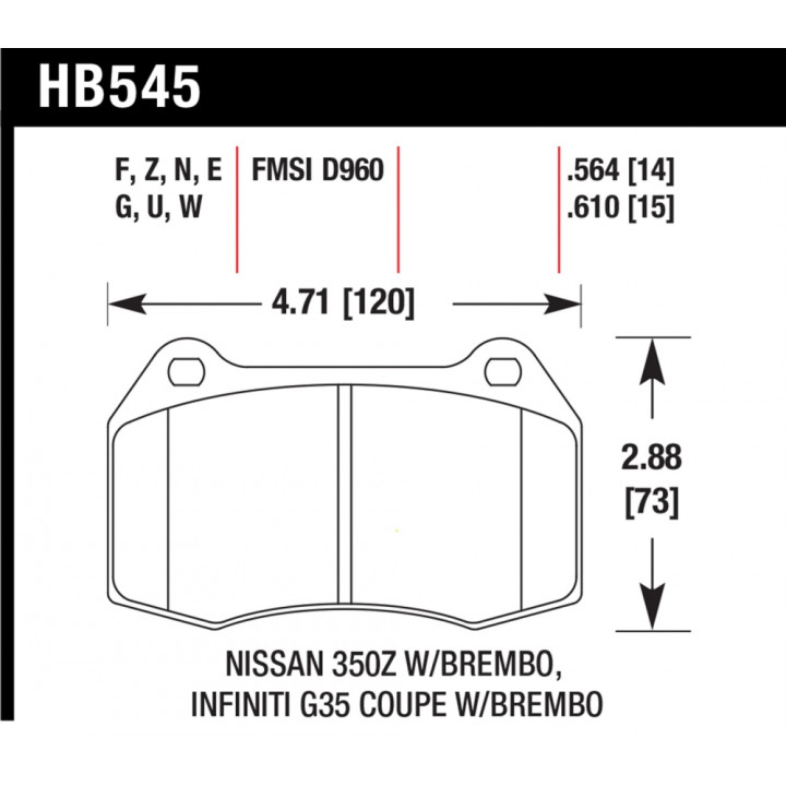 Hawk Performance HB545G.564 Disc Brake Pad DTC-60 w/0.564 Thickness Front