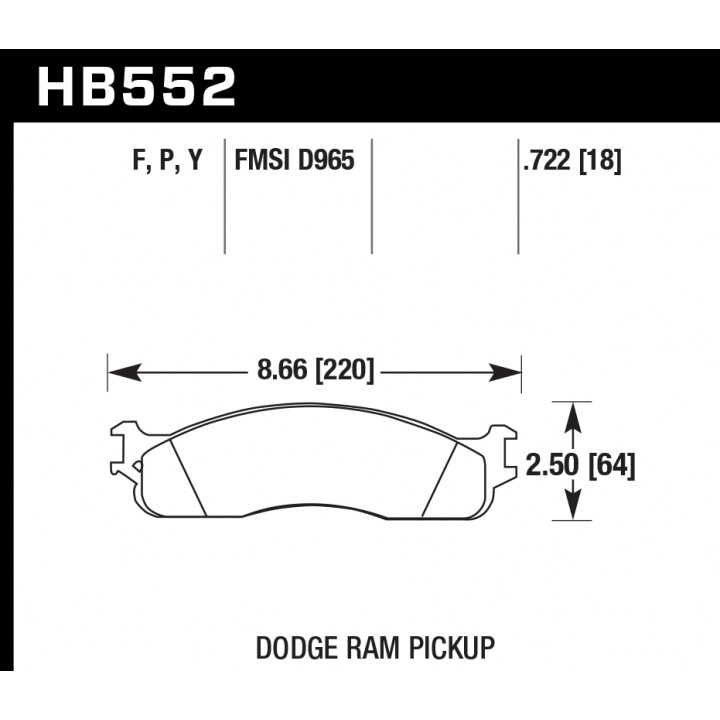 Hawk Performance HB552P.722 Disc Brake Pad SuperDuty w/0.722 Thickness Front