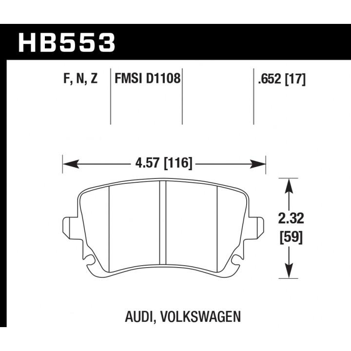 Hawk Performance HB553N.652 Disc Brake Pad HP Plus w/0.652 Thickness Rear