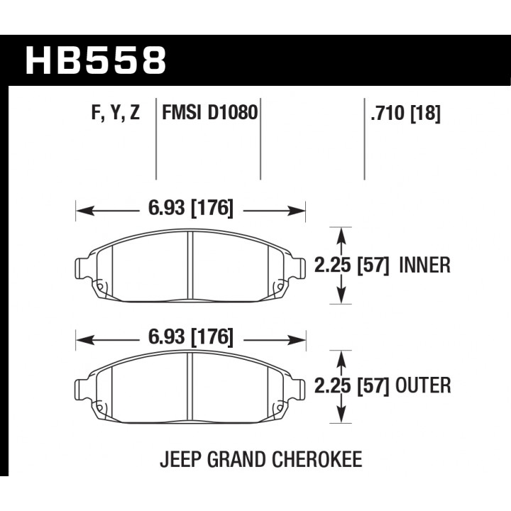Hawk Performance HB558Z.710 Disc Brake Pad Performance Ceramic w/0.710 Thickness Front