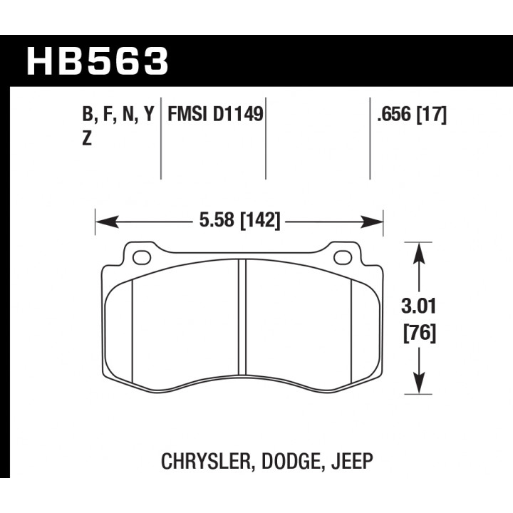 Hawk Performance HB563Y.656 Disc Brake Pad LTS w/0.656 Thickness Front