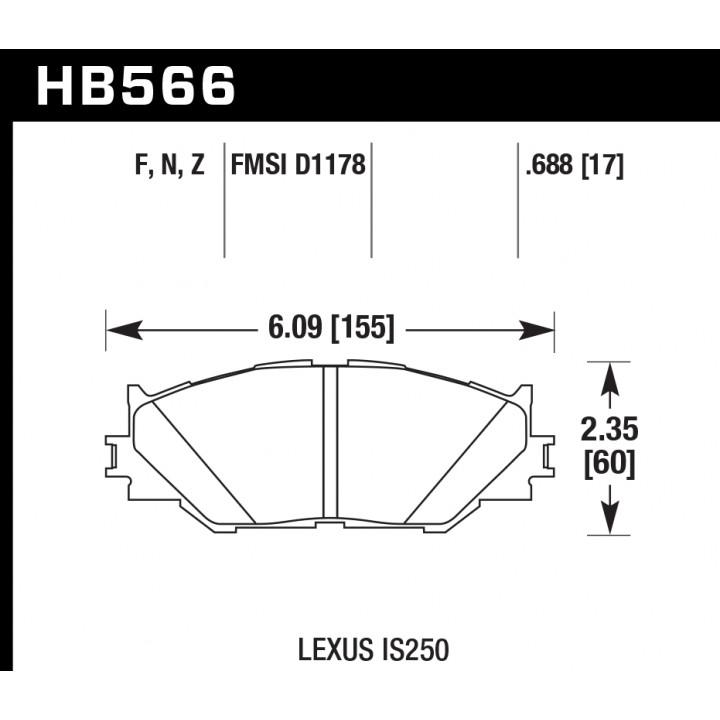 Hawk Performance HB566F.688 Disc Brake Pad HPS Performance Street w/0.668 Thickness Front
