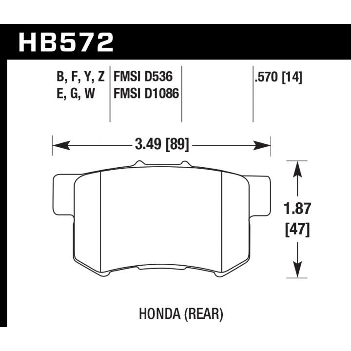 Hawk Performance HB572W.570 Disc Brake Pad DTC-30 w/0.570 Thickness Rear